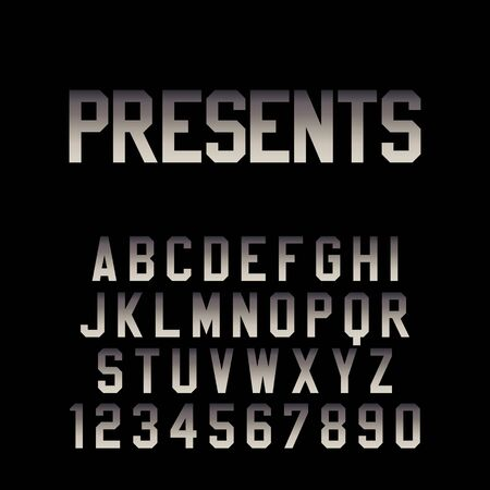 Modern Movie Title Font. Vector techno teaser and trailer alphabet with dramatic gradient.