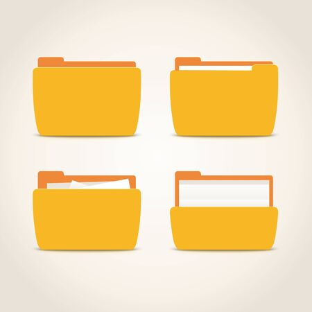 Set of closed and open folders, filled with documents and empty folders. Vector illustration with different kinds of folders