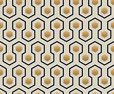 Abstract Retro Pattern with lines and hexagons. Vector simple seamless background