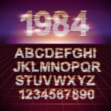 Retro CRT screen Futuristic Movie Font. Stylish Retro Synth Wave Alphabet in 80s style. Vector font on laser grid background Ilustracja