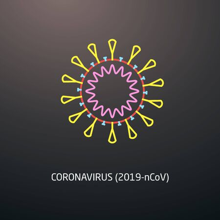 Coronavirus icon on dark background. Novel coronavirus (2019-nCoV) icon.  Vector illustration suitable for any presentation and infographic designs. Ilustracja