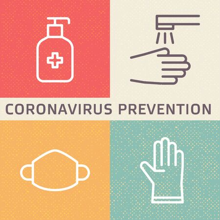 Coronavirus (2019-nCoV) disease prevention illustration. Outline icons showing disinfection, hygiene, mask and glove protection. Vector template suitable for any medical and healthcare presentation or infographic designs. Ilustración de vector