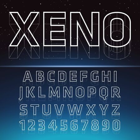 Retro Futuristic 3D Font. Stylish Retro Synth Wave Alphabet in 80s style. Vector font on blue space background Ilustracja