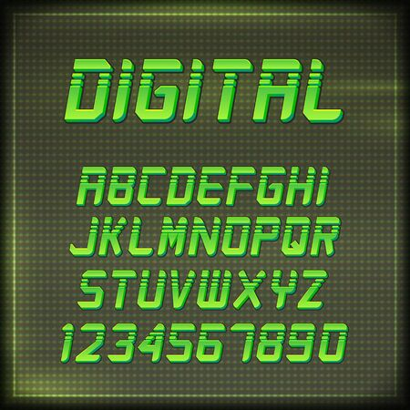 Virtual Reality Retro Arcade Font. Stylish Retro Synth Wave Alphabet in 80s style. Vector font on CRT display background Ilustracja