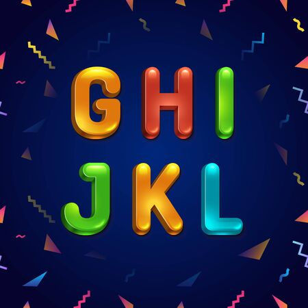 Candy colorful kid font. Cartoon candy style childhood concept alphabet. Vector illustration of cartoon letters from G to L.
