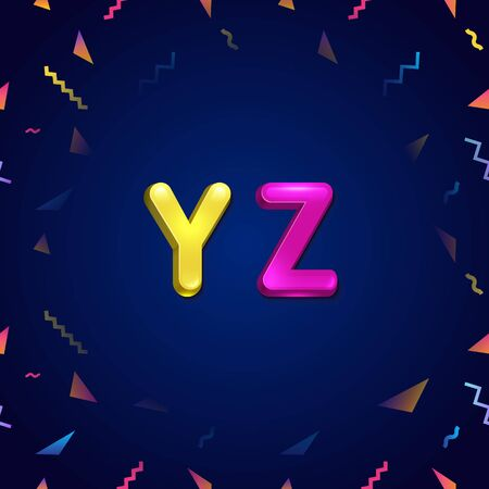 Candy colorful kid font. Cartoon candy style childhood concept alphabet. Vector illustration of cartoon letters from Y to Z.