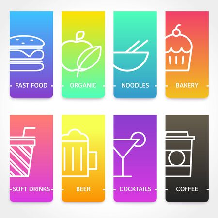 Set of restaurant brochure cover templates. Food and drink vivid gradient banners with line icons. Vector illustration suitable for web or print design, presentation, marketing materials and ads. Ilustracja