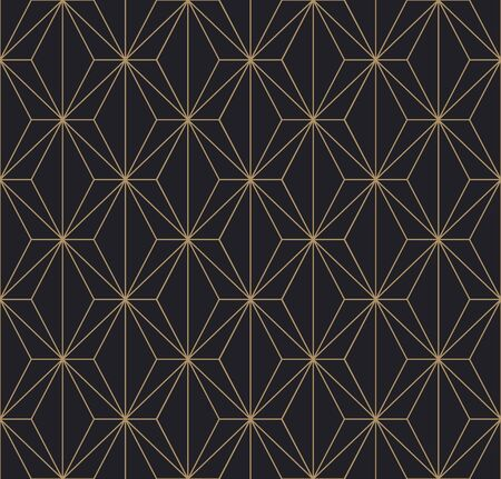 Trendy Art Deco Semless Pattern. Vector geometric golden texture on dark background. Ilustracja