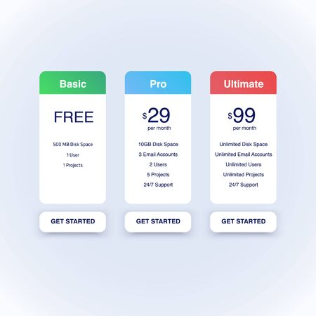 Pricing Tables for Web. Vector Minimalistic template.