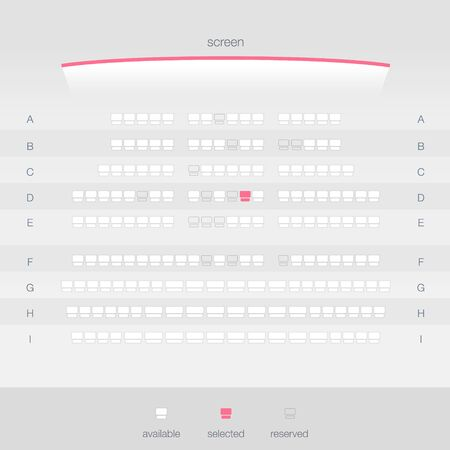 Cinema Ticket Booking Light Theme. Movie ticket reservation UI design template. Vector illustration of top view cinema screen and seats.