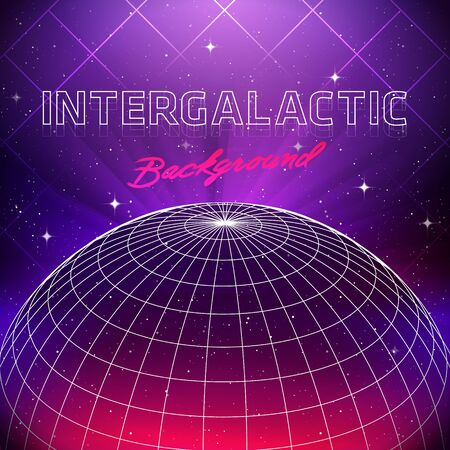 80s Retro Sci-Fi Background. Vector futuristic synth retro wave illustration in 1980s posters style. Suitable for any print design in 80s style Ilustracja