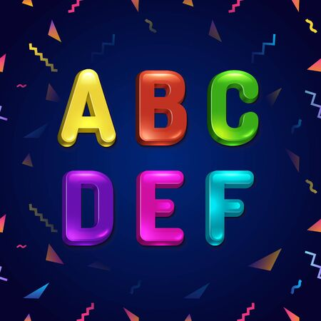 Candy colorful kid font. Cartoon candy style childhood concept alphabet. Vector illustration of cartoon letters from A to F.