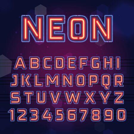 Bright Neon Light Font. Vector glowing Night Club alphabet.