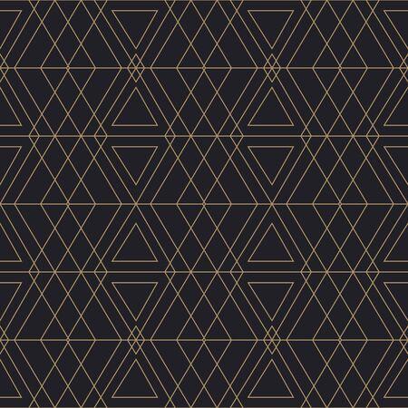 Trendy Art Deco Seamless Pattern. Vector geometric golden texture on dark background.