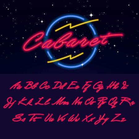Bright Neon Script Font. Vector glowing Night Club alphabet. Ilustracja