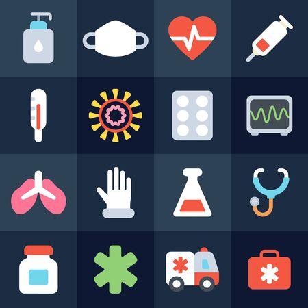 Coronavirus flat icons. Novel coronavirus (2019-nCoV) outbreak and influenza infographic elements: symptoms, hygiene, protection, treatment.