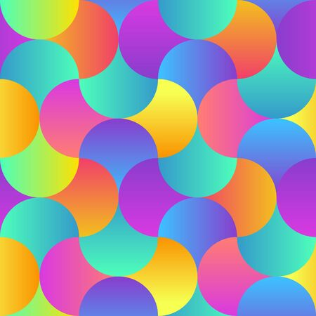 Trendy Seamless Pattern with Circles. Vector colorful geometric background with round shapes. Ilustracja