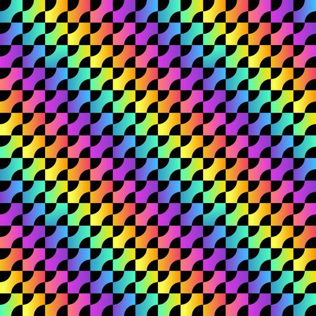 Trendy Rainbow Seamless Pattern. Seamless Minimal Geometric Texture. Abstract vector background with vivid gradient squares. Graphic design for web, print, textile, wrapping and decoration.