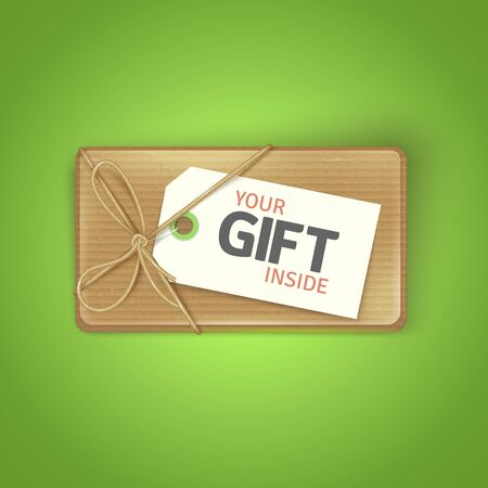 Gift Box Icon. Vector Realistic Illustration of Cardboard Box with gift card. Ilustracja