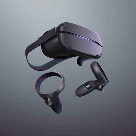 Virtual Reality headset. Realistic VR set vector illustration.