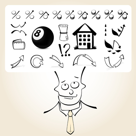 Doodle businessman cartoon character with an icon set from his head. Business icons about making significant decision. Vector