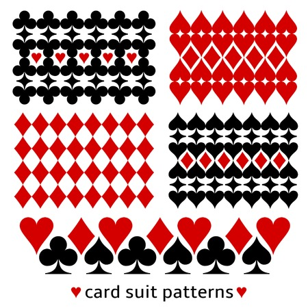 card game: Card suit background patterns. Casino themed decor made from card suit elements.