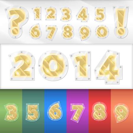 Vector alphabet golden numbers set. Metallic numbers screwed to any colored surface. Vector
