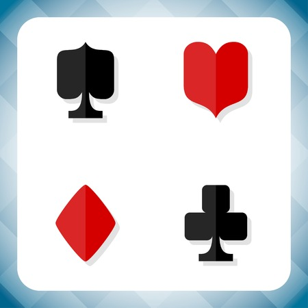 play card: Vector card suits icon set. Four base card game symbols.