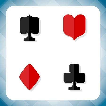 kartenspiel: Vektor-Karte passt icon set. Vier Basis-Kartenspiel Symbole.