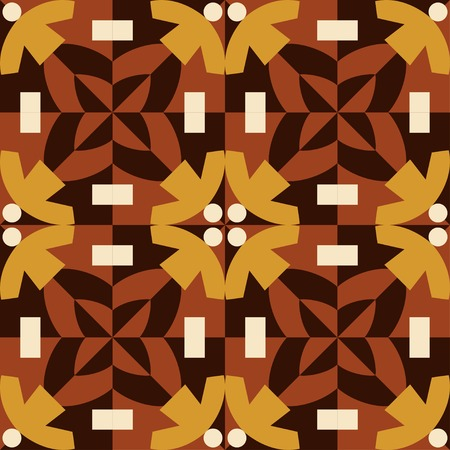 stylistic: Seamless pattern in brown and yellow colors. Made from stylistic man figures.