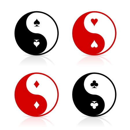Yin-Yang symbol set with card suits. Card game fortune energy. Gambling chance and the power of luck. Vector