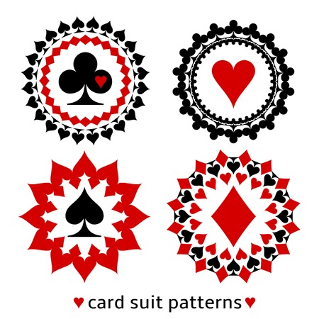 Nice card suit round patterns. Fancy elements of spade, heart, diamond and club for gambling design.