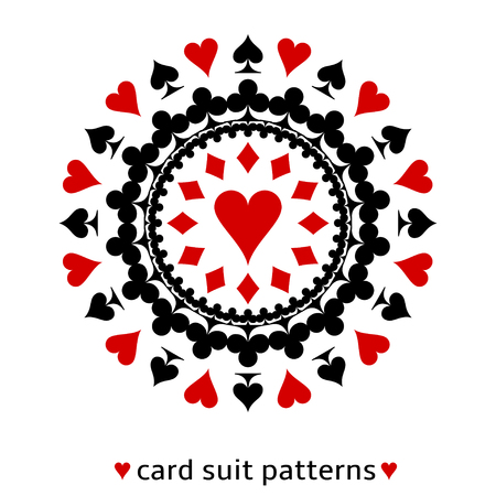 Lovely heart card suit snowflake. Heart in the middle surrounded with spades, diamonds and clubs.