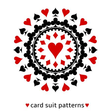 Schönes Herz-Karte Anzug Schneeflocke. Herz in der Mitte mit Pik, Karo und Kreuz umgeben. Standard-Bild - 22699056