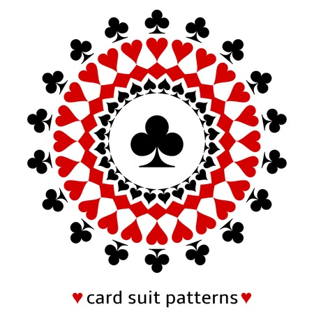 ace of clubs: Awesome club card suit snowflake. Club in the middle surrounded with spades, diamonds and hearts. Illustration