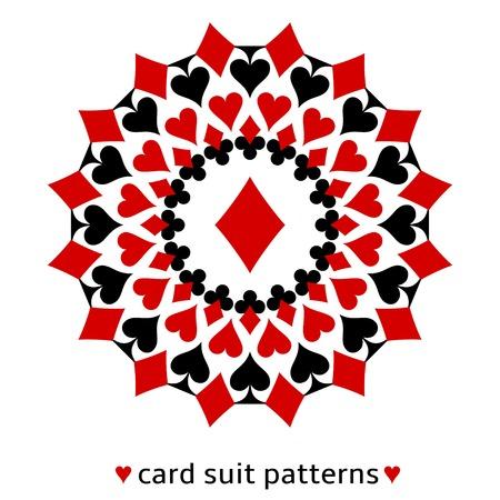 Fancy diamante tarjeta traje de copo de nieve. Diamante en el centro rodeado de espadas, corazones y clubes. Foto de archivo - 22699058