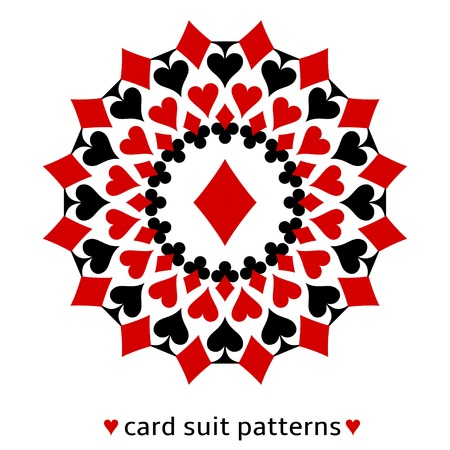 Fancy diamond card suit snowflake. Diamond in the middle surrounded with spades, hearts and clubs. Ilustracja