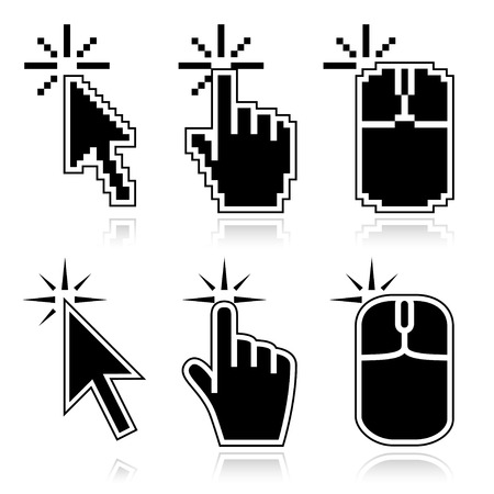 click icon: Black mouse cursors set. Click here arrow, hand and mouse left click icons. Good for illustration of place of clicking.