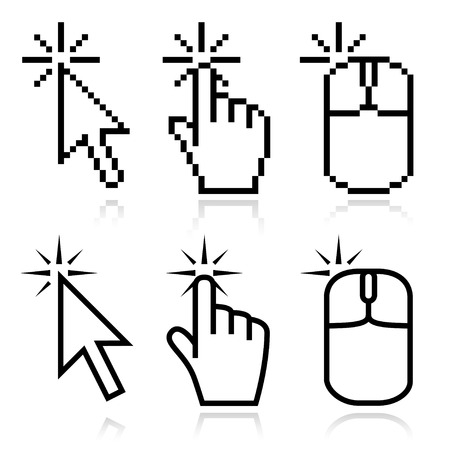 click icon: Click here mouse cursors set. Arrow, hand and mouse left click icons. This set fits for illustration of place of clicking.