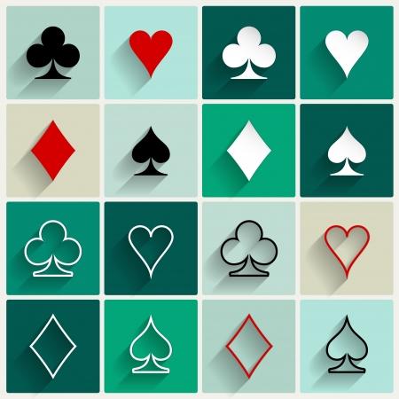 jeu de carte: Quatre symboles de jeu de base pour le web ou les terminaux mobiles