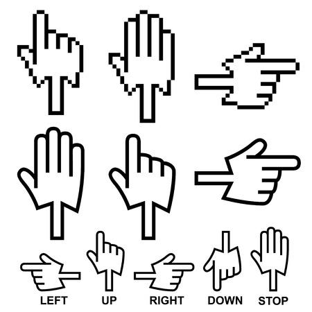 right hand: Direction hand cursor icons, made from arrow and hand cursors. Use icons to set a pointer or direction. Illustration