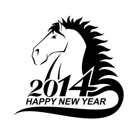 Horse is a symbol of New Year 2014. Awesome illustration of the Year of Horse. Vector
