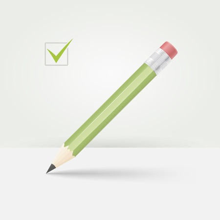 eraser mark: Green wooden sharp pencil. This pencil is ready to draw or check something.