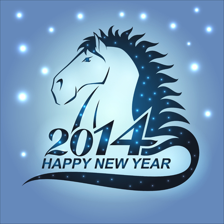 The symbol of New Year 2014 - horse with stars. Nice conceptual illustration of the Year of Horse. Vector