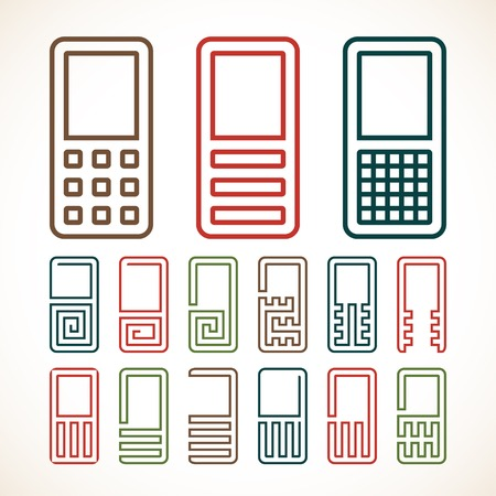 cell phone icon: Mobile cell phone abstract icon set. Made with unusual forms and curves for special illustration of contact number.