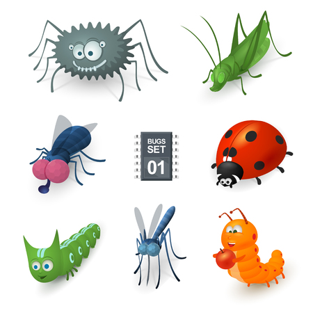 Cartoon bugs set. There are spider, fly, grasshopper, mosquito, two caterpillars and ladybug.