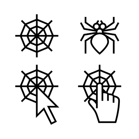 spider web icon: Spider web icon set. Web with arrow and hand cursors are signs of networking.
