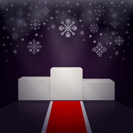 Sport Siegertreppchen. Roten Teppich, um den Sockel für Wintersport-Gewinner. Vektorgrafik