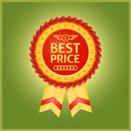 Best price red label isolated on green background Vector