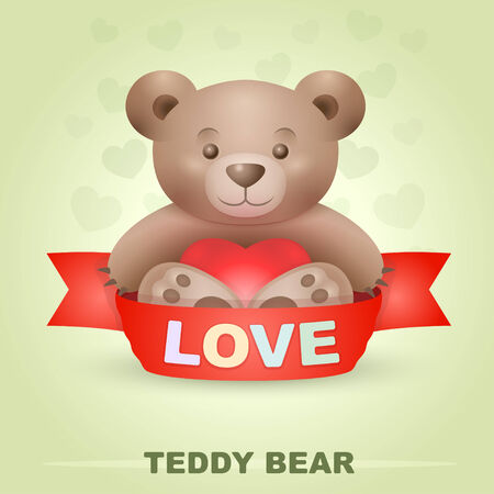 toy bear: Cute Teddy bear with heart and love signature on a ribbon Illustration